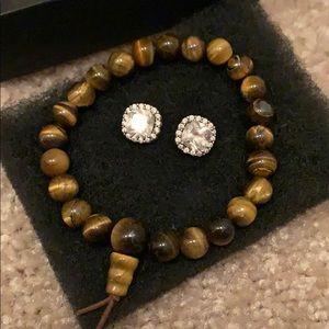 Halo Crystal Stubs & Tiger's Eye Bracelet